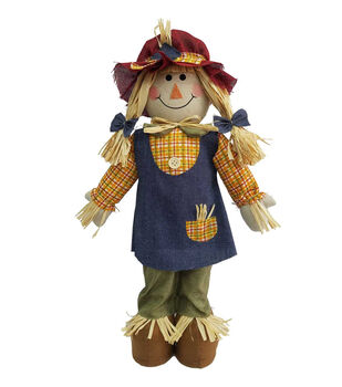 Simply Autumn 22'' Girl Scarecrow Porch Sitter