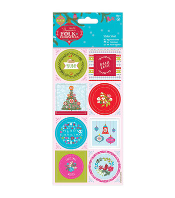 Papermania Folk Christmas Stickers With Linen Finish