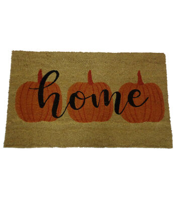 Simply Autumn Coir Mat-Three Pumpkins & Home