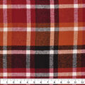 Plaiditudes Brushed Cotton Fabric-Burgundy, Rust, Black & White Plaid