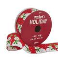Maker\u0027s Holiday Christmas Ribbon 1.5\u0027\u0027x30\u0027-Snowmen on Red