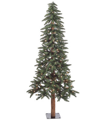 Alaska Pine Tree on Metal Base with Clear Lights 6'
