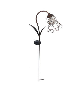 In the Garden 12.8''x35.5'' Metal Flower Solar Stake-Black