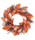 Simply Autumn Magnolia Leaf & Berries Wreath-Copper