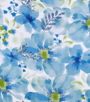 Silky Print Rayon Fabric 53''-Blue Watercolor Flowers