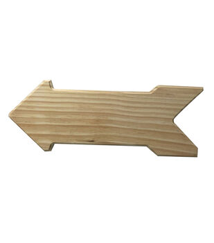 Unfinished Wood Surface Arrow Plaque
