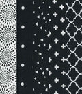 Fat Quarter Bundle Cotton Fabric 5-Pieces 18\u0027\u0027-White Floral On Black