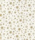 Christmas Cotton Fabric 43\u0022-Gold Metallic Snowflakes