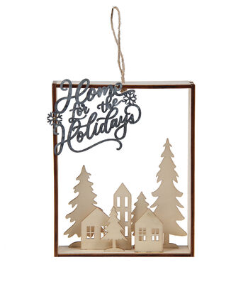 Maker's Holiday Craft Unfinished Wood 3D Scene Decor-Home for Holidays