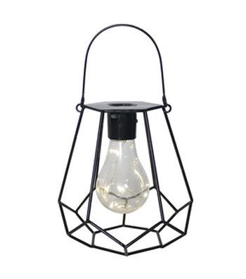 In the Garden Diamond Shaped Hanging Solar Lantern-Black