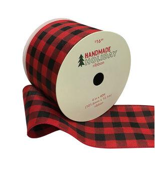 Handmade Holiday Christmas Ribbon 4''x40'-Red & Black Buffalo Plaid