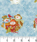 Maker\u0027s Holiday Cotton Fabric 43\u0022-Snowmen Buddies and Flakes
