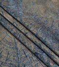 Metallic Brocade Fabric-Wood Grain on Blue