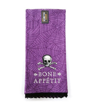 Maker's Halloween Decor 16''x26'' Towel with Trims-Bone Appetit & Skull
