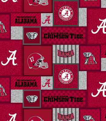 Alabama Crimson Tide Fleece Fabric-College Patch