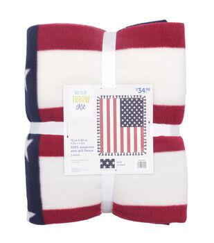 Patriotic No Sew Fleece Throw Kit-American Flag