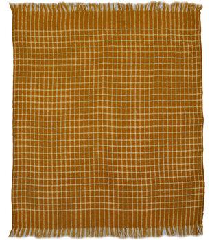 Simply Autumn 50''x60'' Throw-Yellow & White Plaid