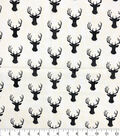 Novelty Cotton Fabric -Distressed Stag Head On Cream
