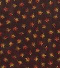 Harvest Cotton Fabric-Mini Textured Leaves on Brown