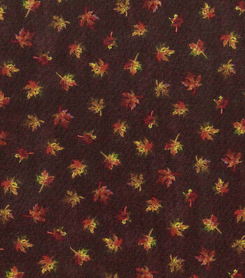 Harvest Cotton Fabric-Mini Textured Leaves on Brown