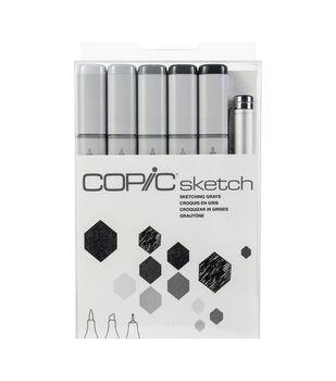 Copic Sketch Markers 5/Pkg W/Multiliner Pen-Sketching Grays