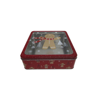 Handmade Holiday Christmas Large Square Cookie Tin-Gingerbread