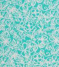 1930\u0027s Cotton Fabric 43\u0027\u0027-Floral Outlines on Teal