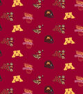 University of Minnesota Gophers Cotton Fabric 44\u0022-Red All Over