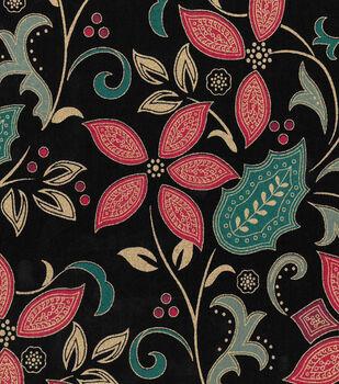Christmas Cotton Fabric -Mettalic Poinsettia