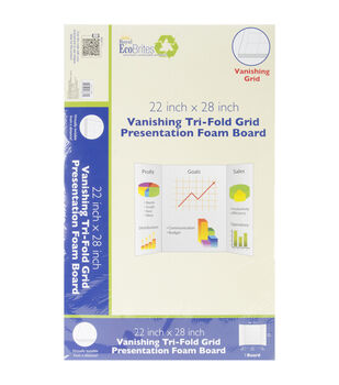 "Trifold Grid Foam Board 22""X28""-White"