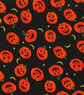 Halloween Cotton Fabric -Tossed Pumpkins Glitter