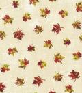 Harvest Textured Cotton Fabric-Mini Leaves on Cream