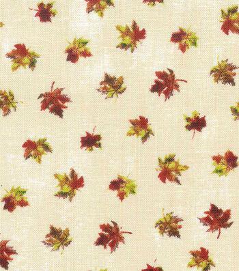 """Harvest Cotton Fabric 43""""-Mini Textured Leaves Cream"""