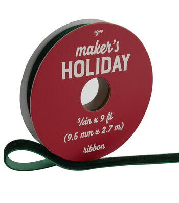 Maker's Holiday Traditional Holiday Velvet Ribbon 3/8''x9'-Green