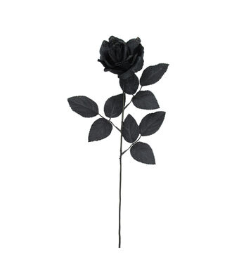 Maker's Halloween Glitter Rose Stem-Black