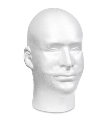 "Styrofoam Male Head Bulk-11""X6.5""X8.5"""