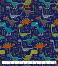 Snuggle Flannel Fabric-Hungry Dinos on Blue