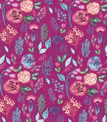 Premium Cotton Print Fabric 43''-Dark Pearl Watercolor Garden