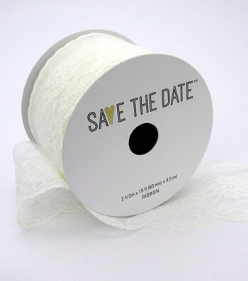 """Save the Date 2.5"""" x 15ft Ribbon-White Lace"""