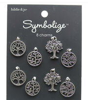 hildie & jo Symbolize 8 pk Tree of Life Silver Charms, , hi-res
