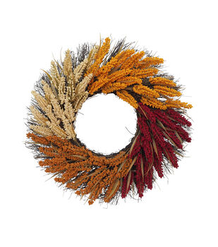 Blooming Autumn Tri Color Heather & Twig Wreath