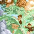Nursery Fleece Fabric -Jungle Baby Animals