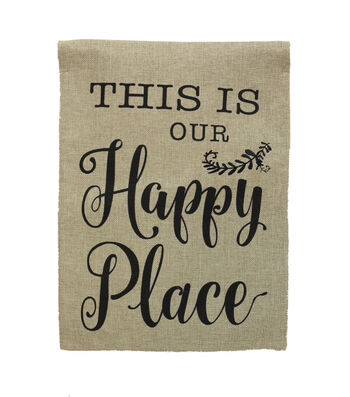 Hello Spring Gardening 12''x18'' Burlap Flag-This is our Happy Place