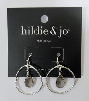 db584e9ac hildie & jo Silver Round Dangle Earrings-Smoky Gray Beads