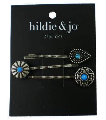 hildie & jo 3 pk Silver Hair Pins-Blue Crystal & Stones