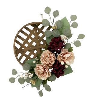 Blooming Autumn Peony, Hydrangea & Eucalyptus Wreath-Cream & Burgundy