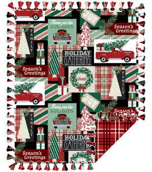 No Sew Fleece Throw-Christmas Patchwork Mint