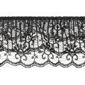 Ruffled 3-tier Lace Trim-Black