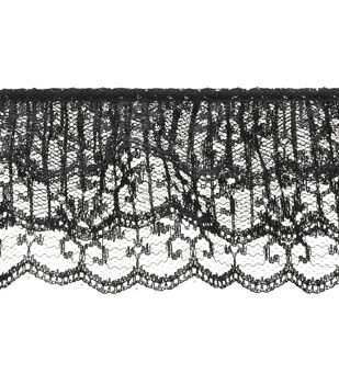 Ruffled 3-tier Lace Trim-Black
