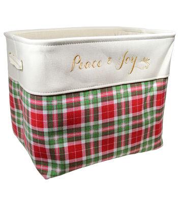Christmas Medium Soft Storage Bin-Cream & Red Plaid